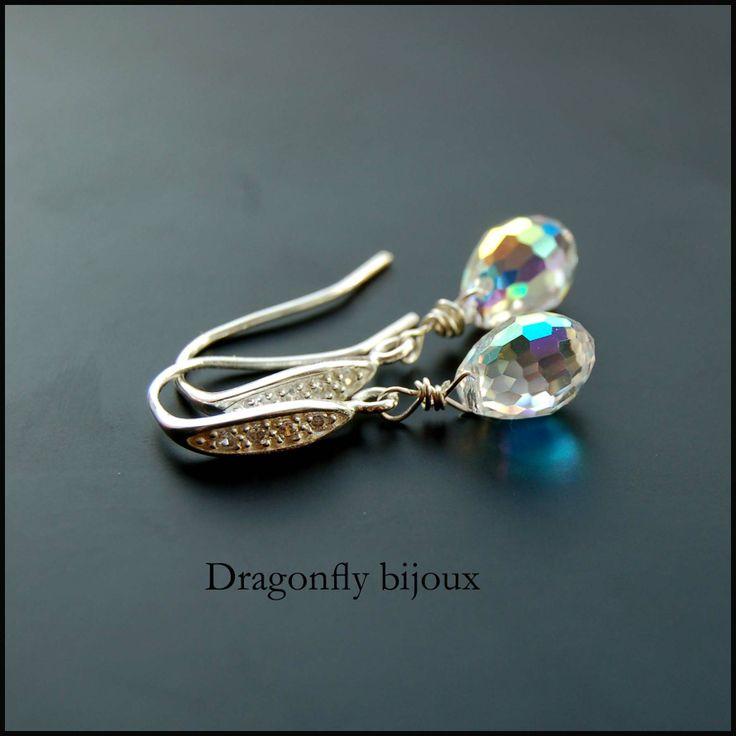 vintage handmade earrings silver crystal earrings