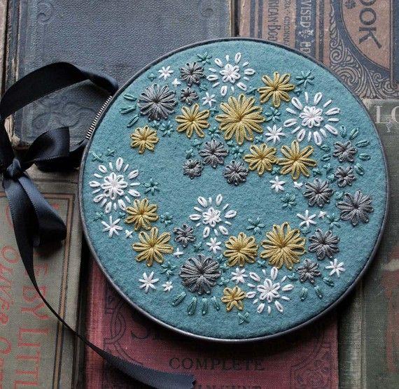 Hand Embroidered Wool Felt Hoop Art in Her Random by LoveMaude