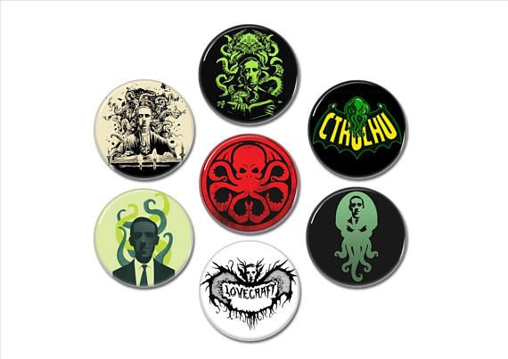 H.P Lovecraft buttons badges set of 7!  #hplovecraft #cthulhu #oldones #ancientones #horror #buttons #badges #pins #pinbacks #horrorbuttons #cthulhubuttons