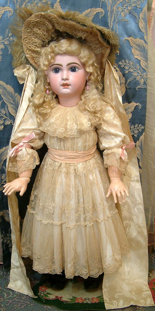 "antique long blonde doll wigs | 33"" HUGE & CHUNKY JUMEAU BEBE French Antique Doll IN FABULOUS ..."