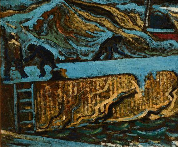 """Artwork by Marc-Aurèle Fortin, Un port (Travaux au port sur le Saguenay)"""", Made of Oil on masonite"""