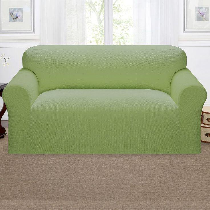 Kathy Ireland Pique Loveseat Slipcover, Green