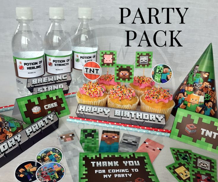 Complete Printable Minecraft Party Pack! Includes Invitations, Party Banner, Party Hats, Tent Cards, Bottle Labels, Cupcake Toppers, Bookmarks + more!