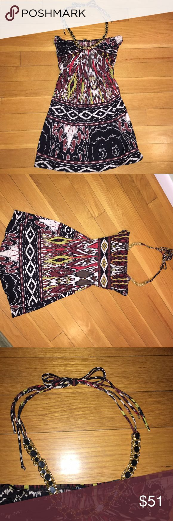 """Tribal Print Sky Halter Top Tribal print Sky top. Strapless with gold chain halter tie. The gold chain halter has all of the black enamel circles! NWOT. Excellent used condition. Measures approx 26"""" long from top to bottom. 100% silk- no stains, pills, pulls, or tears! Sky Tops"""