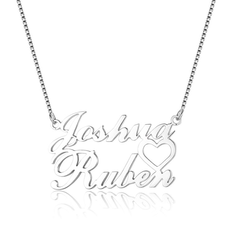925 Sterling Silver Couples Names Necklace - Belis Delights