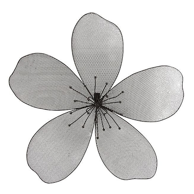 Yael Decoration Murale En Forme De Fleur En Metal Noir Grand Modele