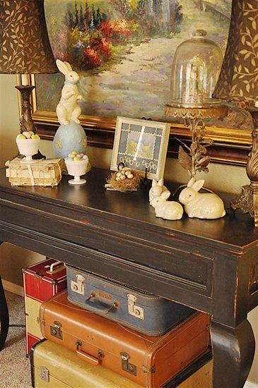 Easter Decor  #vintage suitcases