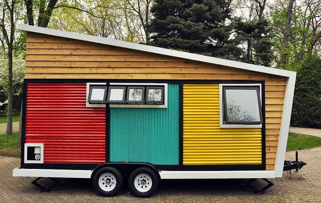 The Toy Box tiny house. A 140 sq ft tiny home on wheels, built using eco-friendly materials. Currently for sale at $48,000.
