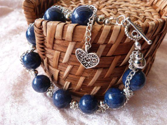 Chained lapis lazuli bracelet by AlluringBracelets on Etsy