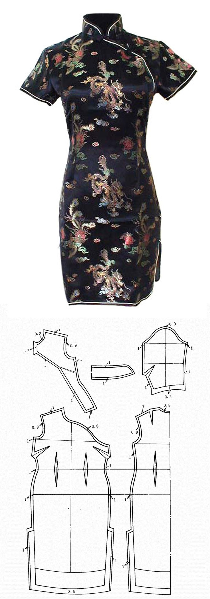 qipao - Tradicional chinese dress pattern                                                                                                                                                      More