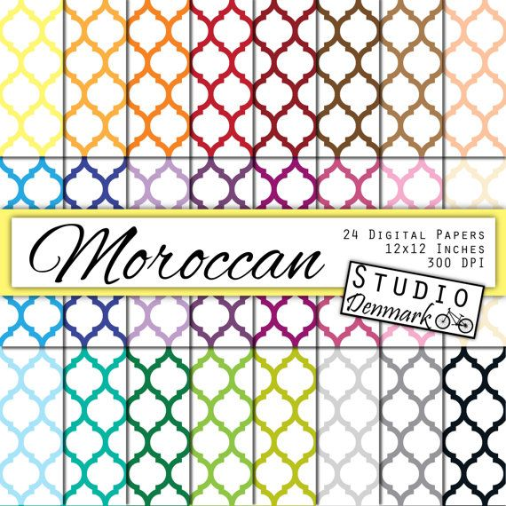 Moroccan Digital Paper Value Pack - 24 Colors - Commercial Use - 12in x 12in 300 dpi jpg - Instant Download #etsy  #etsyretwt