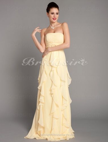 Sheath/Column Floor-length Chiffon Strapless Bridesmaid Dress - $107.99