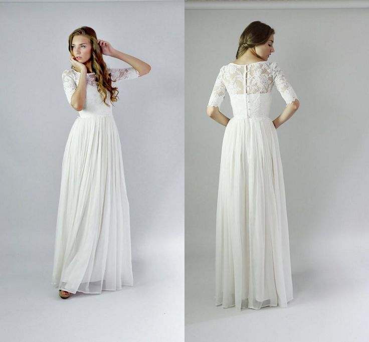 2016 Bohemian Wedding Dresses Cheap Sheer Neck Half Sleeve Lace Top A Line Floor Length Chiffon
