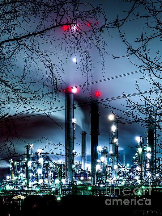Chimneys in the fog, Refinery Scholven, Gelsenkirchen