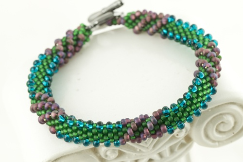 Create this bracelet using various shape and size of seed beads