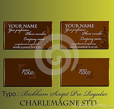 Elegant business card with gold border and brown baroque intarsia. Vector illustration.