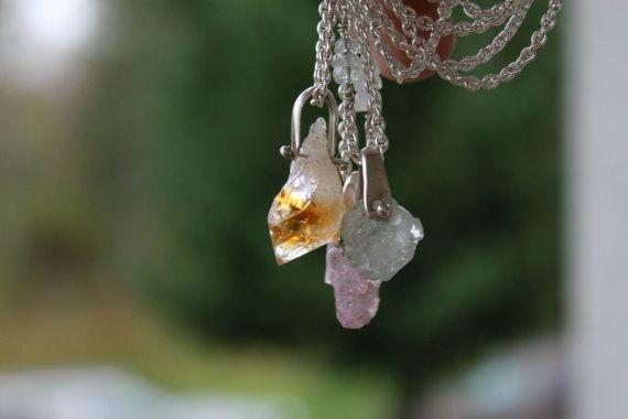 Pierre gemme épinglés Collier - Collier Citrine, aigue marine collier, collier spinelle, collier de pierres précieuses brutes, de cristal,