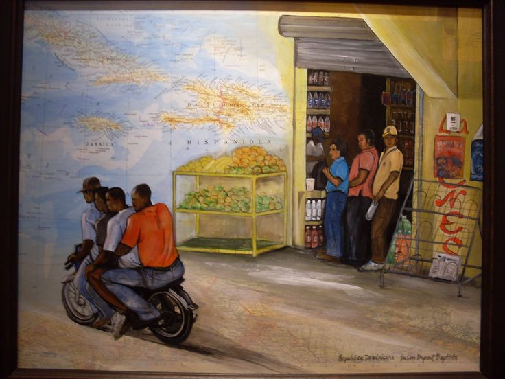 """Wait for Me!, Dominican Republic"" acrylics on map by SD Baptista"