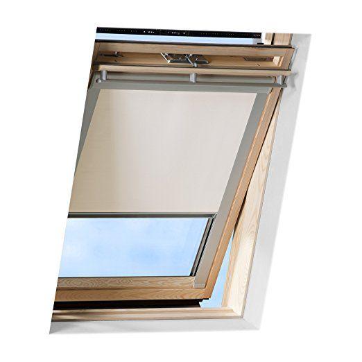 Store pour fenêtres de toit beige de VICTORIA M compatible avec Velux GHL M06 permet de faire l'obscurité complète - store enrouleur occultant réfléchit la chaleur grâce au revêtement thermique