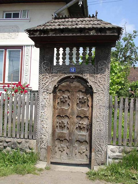Traditional szekler gate. (Called Székelykapu, originally hungarian-székely architecture) Transylvania, Erdély, Eastern-Carpathians