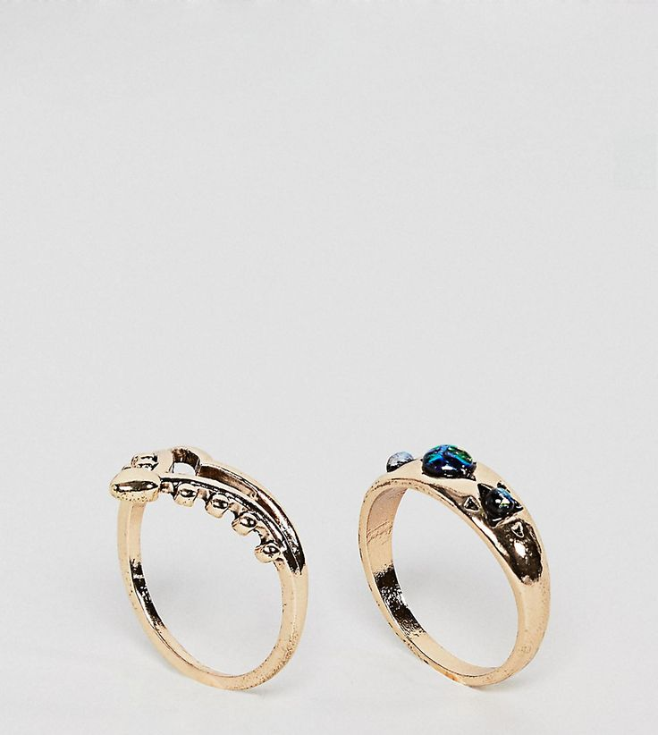 ASOS CURVE Pack of 2 Shimmer Stone Rings - Gold