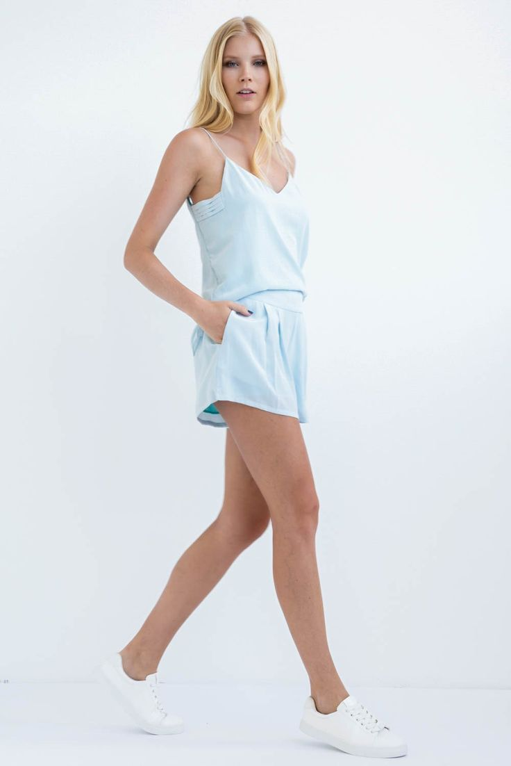 TWO PIECE SET: SKY BLUE SLIP ON CAMISOLE