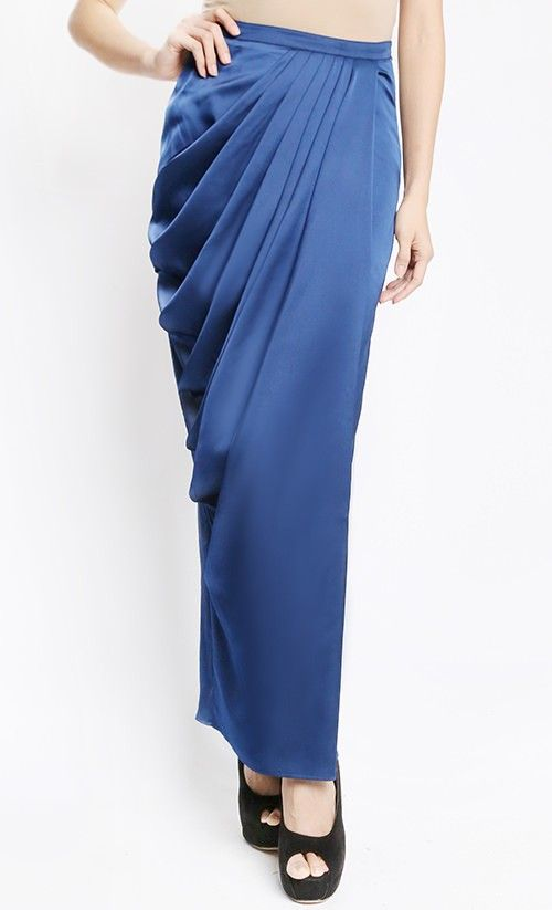 Issoria Draped Skirt in Blue
