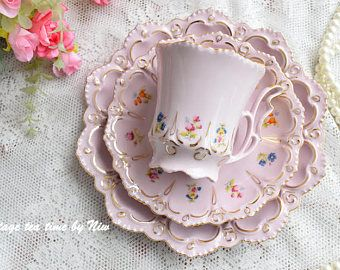 Vintage tea cup set floral porcelain Slav porcelain pink  teacup and saucer