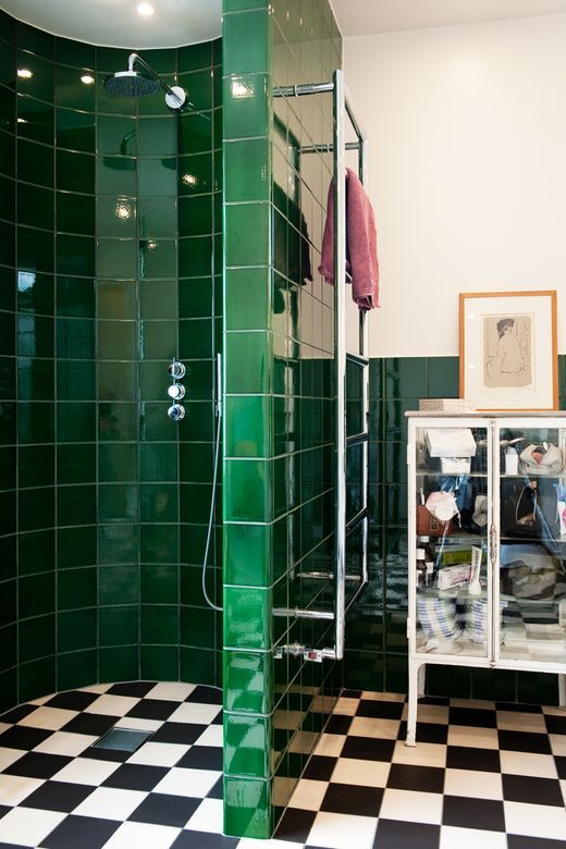 """Love it all. Just a completely different colorway. The green has to go as does teh checkered floor. Swedish """"funkis""""-style bathroom"""