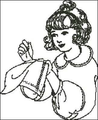 Девочка за вышивкой вышивкка крестиком скачать схему