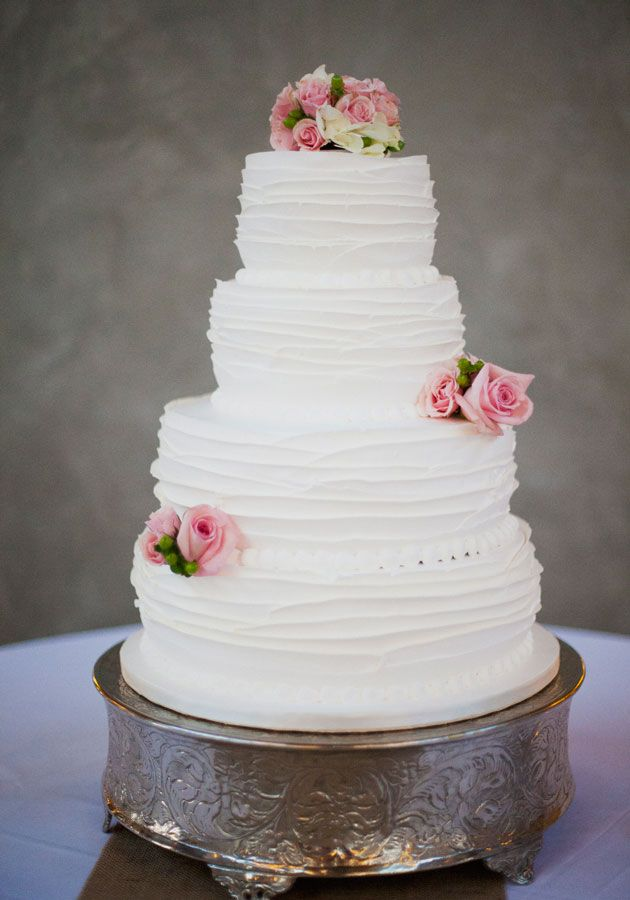 I love this cake, its so pretty! simple and sweet ruffled wedding cake // photo by @Christa Vickers Vickers Elyce