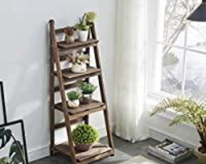 Rustic Ladder Shelf Rustic Wood And Rope Ladder Shelf Etsy