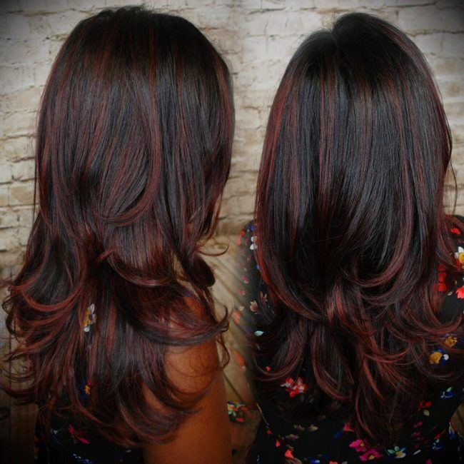 Layered Black Waves With Muted Cherry Highlights Hair Pinterest