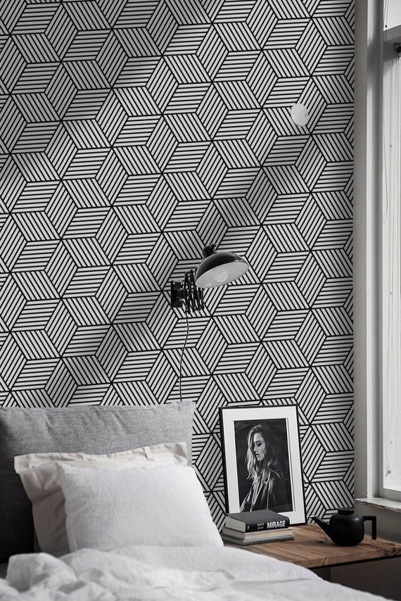 Geometric Cubes Removable Wallpaper White And Black Wall Mural Etsy Removable Wallpaper How To Install Wallpaper Black Walls