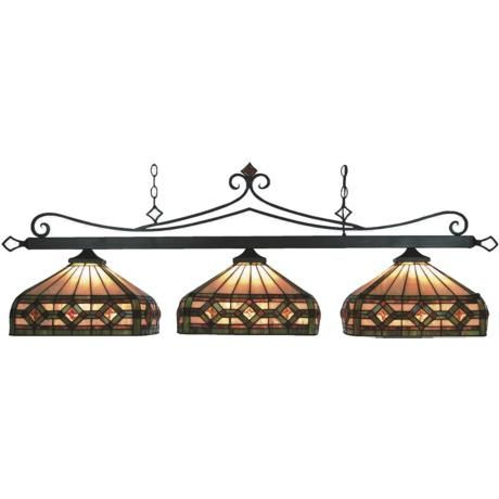 craftsman style lighting for pool table | Bronze Tiffany Style Pool Table Light