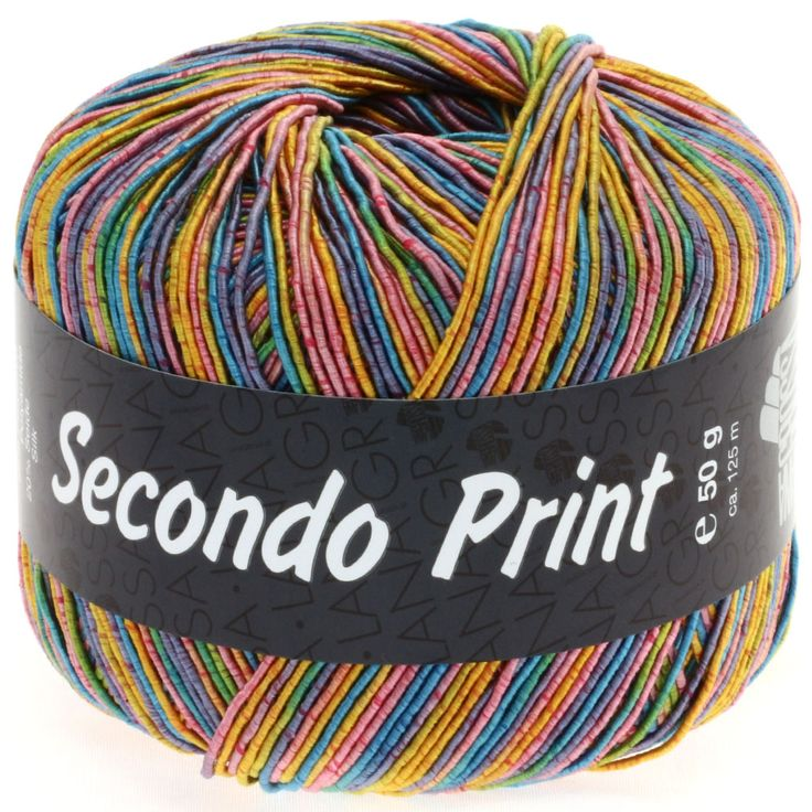SECONDO print II 507-pink/gold yellow/turquoise/lilac