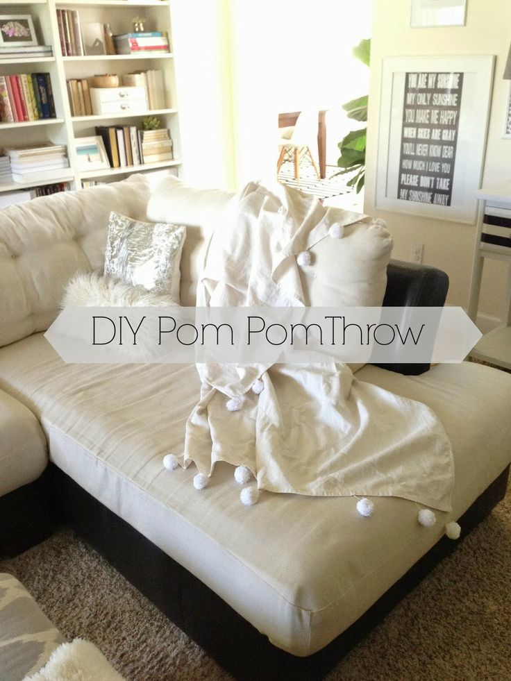 Inside-Out Design: DIY Pom Pom Throw {{It's made from a shower curtain ...