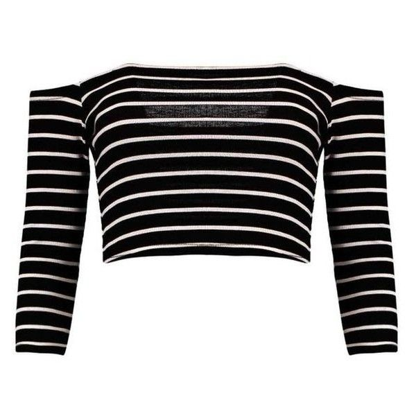 Boohoo Andrea Striped Off The Shoulder Rib Crop Top ❤ liked on Polyvore featuring tops, bralet tops, bralet crop top, polka dot crop top, bralette tops and ribbed crop top