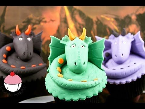 Dragon Cupcakes! Make Dragon Cup Cake Topper - Learn how to make these delicious treats, and heaps more at Mycupcakeaddiction!
