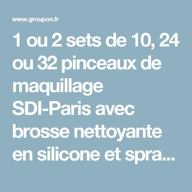 1 ou 2 sets de 10, 24 ou 32 pinceaux de maquillage SDI-Paris avec brosse nettoyante en silicone et spray désinfectant