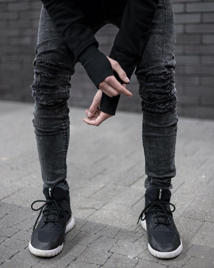 Yield Clothing Black Harness Hoodie + Ripped Light Marble Denim