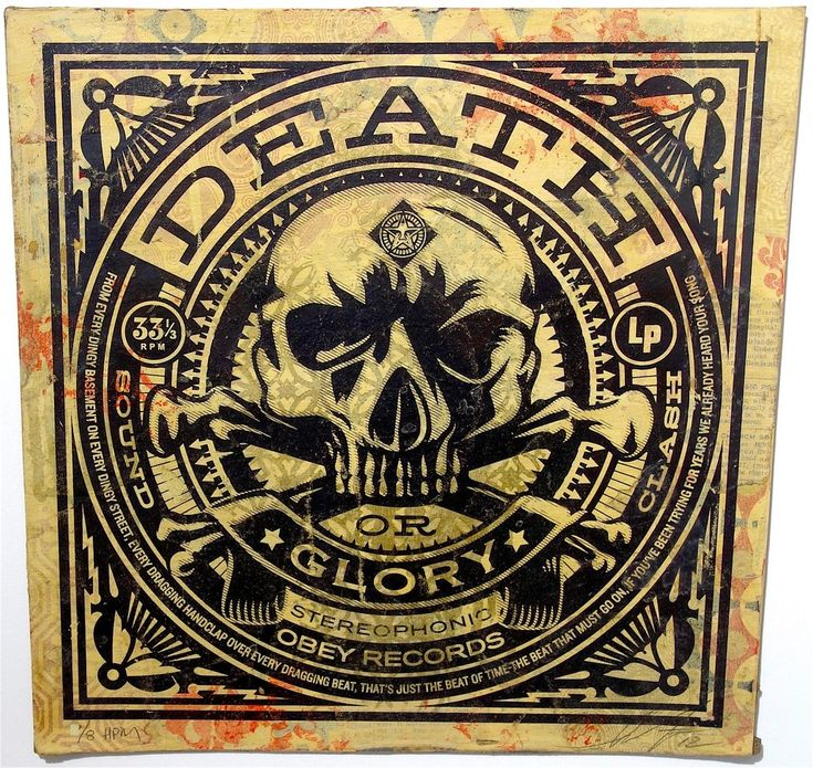 """Shepard Fairey Death or Glory Album Cover HPM, 2012 Edition of 8 Medium: Silk screen print and mixed media on reclaimed album cover. Dimensions: 12"""" x 12"""" Framed - Line Dot contemporary art editions and multiples in Chicago"""