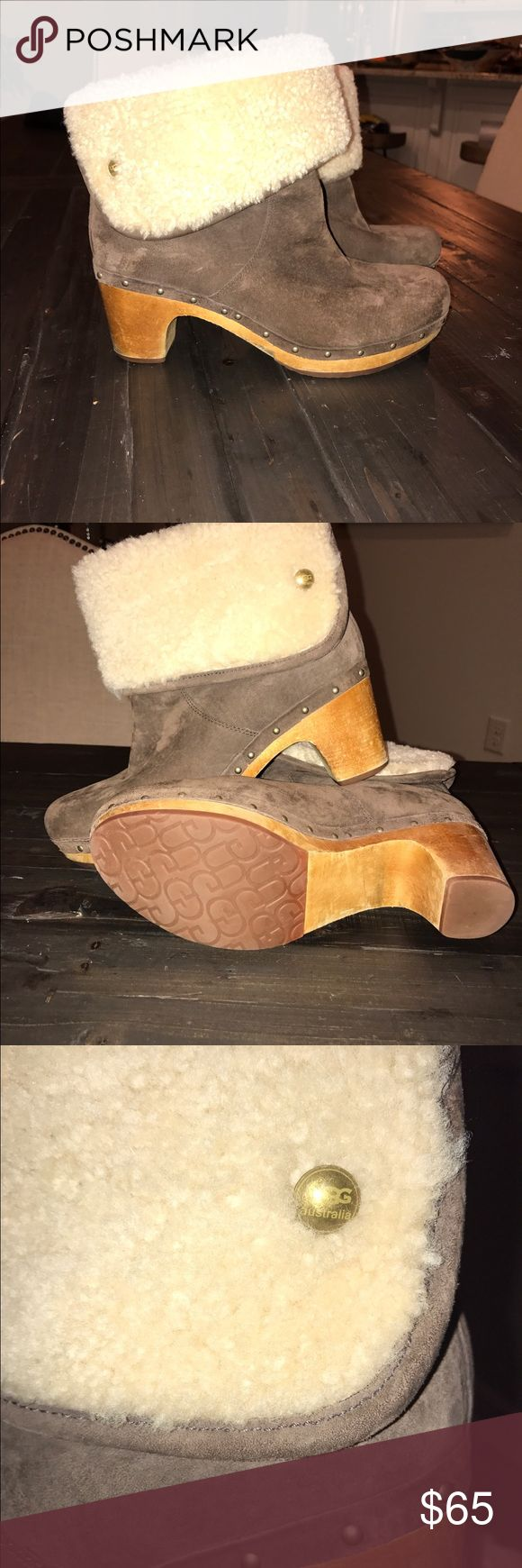 Ugg Lynnea shearling clog bootie size 9.5 Ugg Lynnea shearling clog bootie size 9.5. Worn a few times. Wooden sole. Excellent condition. UGG Shoes Ankle Boots & Booties