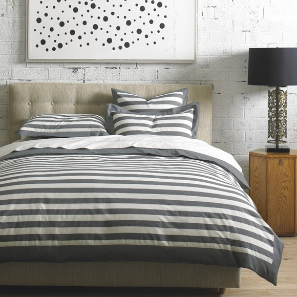 Graphic Stripe Duvet set from @DwellStudio. Imagine with any color sheet set!