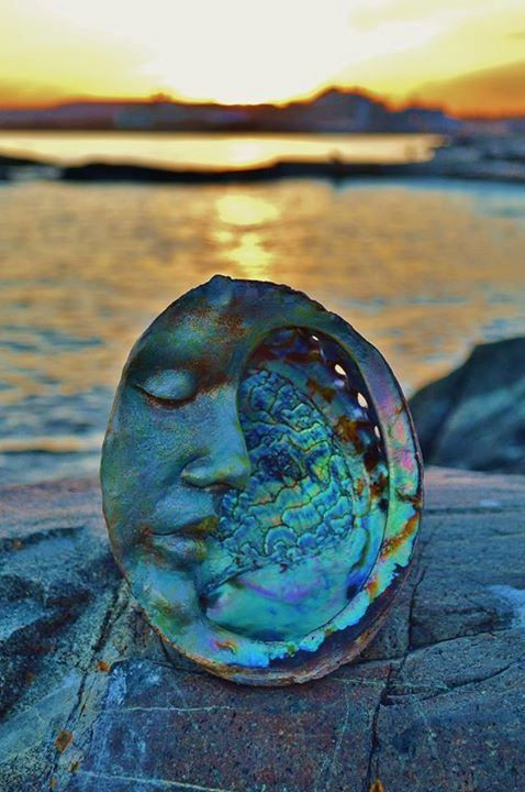 RESERVED for Karen, Payment 2 of 3, Abalone Moon Face, Mother of Pearl, Paua Shell Sculpture by Shaping Spirit
