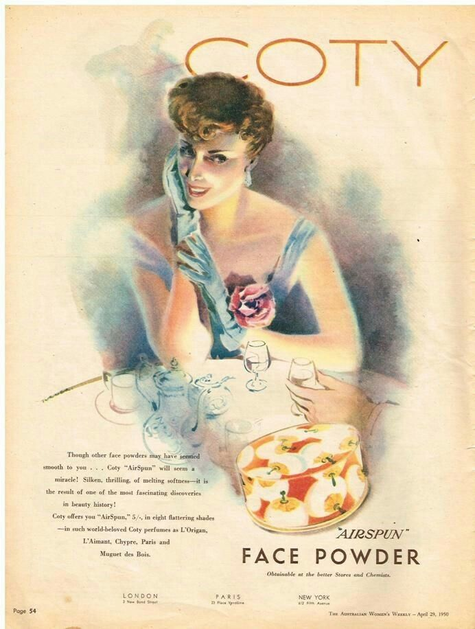 Coty Face Powder ~ Australia 1950s.