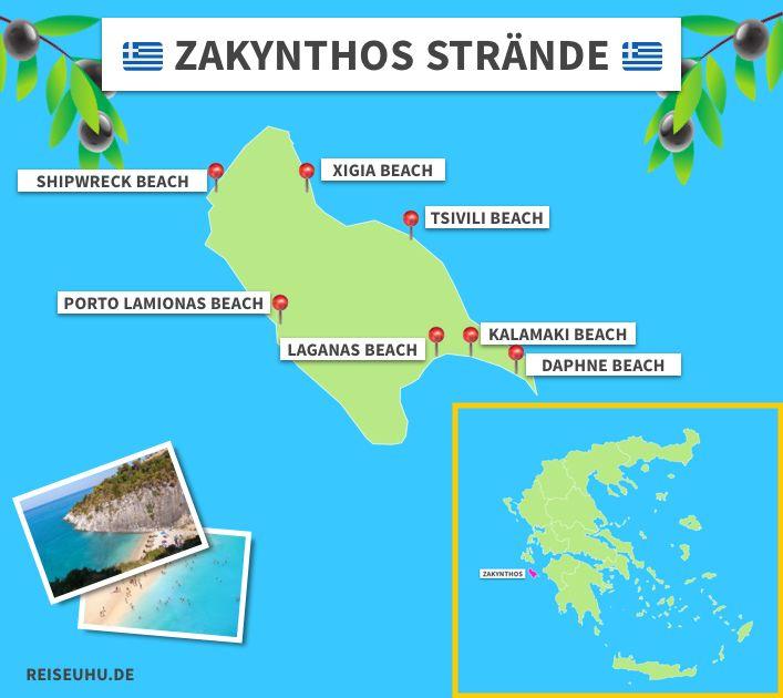 zakynthos griechenland karte Die 7 schönsten Strände auf Zakynthos   Hier gibt's die besten