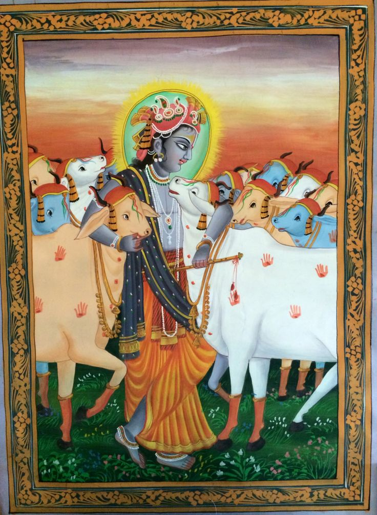 Lord Krishna with his cows - http://worcester.craigslist.org/art/4514359064.html