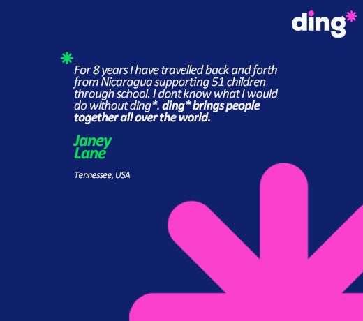 Janey Lane travels back and forth between countries and to her, ding* is literally a life saver! www.ding.com