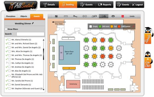 AllSeated will create a digital map of your wedding reception floor plan -- and with their long list of table styles, dance floors and other room rentals -- brides, grooms, moms, planners and venue managers can create a to-scale, printable, seating chart and floor plan of your reception. You can also manage your guest list and keep track of RSVPs with this free tool.